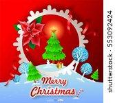 merry christmas landscape.... | Shutterstock .eps vector #553092424