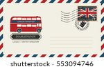 an envelope with a postage... | Shutterstock .eps vector #553094746