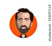 portrait of nicolas cage icon   Shutterstock .eps vector #553097119