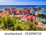 Small photo of City Council Building in Malaga. Aerial view of Malaga taken from Gibralfaro castle including port of Malaga, Alcazaba castle and the Cathedral, Andalucia, Spain.