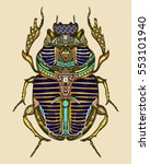 gold scarab color tattoo ... | Shutterstock .eps vector #553101940