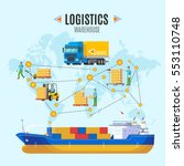 logistic warehouse concept with ... | Shutterstock .eps vector #553110748