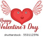happy valentines day card with... | Shutterstock .eps vector #553112596
