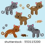 vector collection of cute and... | Shutterstock .eps vector #553115200
