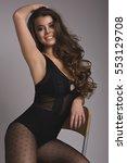 happy beautiful brunette woman...   Shutterstock . vector #553129708