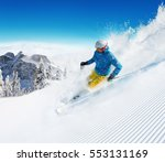 skier on piste running downhill ... | Shutterstock . vector #553131169