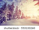 color toned winter landscape... | Shutterstock . vector #553133260