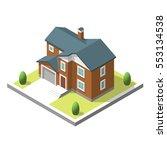 isometric buildingt. flat style.... | Shutterstock . vector #553134538