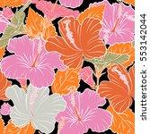 hibiscus flower seamless...   Shutterstock . vector #553142044