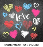 vector color chalk drawn... | Shutterstock .eps vector #553142080