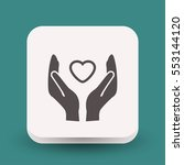 pictograph of heart in hand   Shutterstock .eps vector #553144120