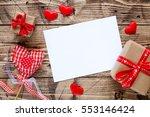 valentine day wood background... | Shutterstock . vector #553146424