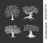 olive trees silhouette icon set ... | Shutterstock .eps vector #553150774