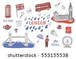 london city hand drawn objects... | Shutterstock .eps vector #553155538