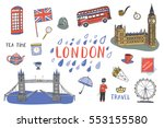 london city hand drawn objects... | Shutterstock .eps vector #553155580