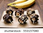 frozen banana covered with... | Shutterstock . vector #553157080