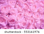 Stock photo pale pink roses in a wedding centerpiece 553161976