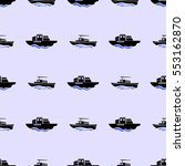 sea ships silhouettes seamless... | Shutterstock . vector #553162870