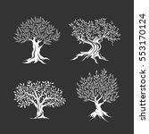 olive trees silhouette icon set ... | Shutterstock .eps vector #553170124