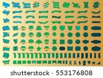 banner ribbon label green... | Shutterstock .eps vector #553176808