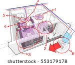 3d illustration of perspective... | Shutterstock . vector #553179178