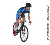 road cyclist in blue jersey ... | Shutterstock .eps vector #553180624