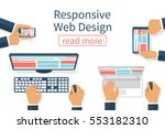 responsive web design. team... | Shutterstock .eps vector #553182310
