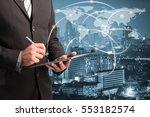double exposure businessman...   Shutterstock . vector #553182574