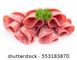 salami sausage slices isolated... | Shutterstock . vector #553183870
