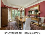 dining room in luxury home with ... | Shutterstock . vector #553183993