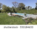 swimming pool in back yard of... | Shutterstock . vector #553184653