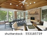 porch in luxury home with brick ... | Shutterstock . vector #553185739