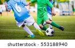 soccer football match. kids... | Shutterstock . vector #553188940
