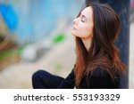 portrait of a dreamy cute woman ... | Shutterstock . vector #553193329