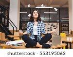 young joyful brunette woman... | Shutterstock . vector #553195063