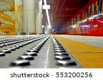 closeup of metal tactile strips ... | Shutterstock . vector #553200256