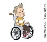 disabled kid in wheelchair   Shutterstock .eps vector #553210624