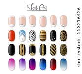 set of colored painted nails.... | Shutterstock .eps vector #553216426