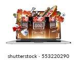 online gambling on laptop... | Shutterstock . vector #553220290