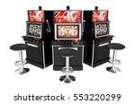 Three Casino Slot Machines Isolated on White Background. Slots 3D Render Illustration. - stock photo