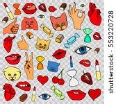 lips  eye  smile  hearts  hands.... | Shutterstock .eps vector #553220728