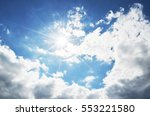 bright blue sky with clouds and ... | Shutterstock . vector #553221580