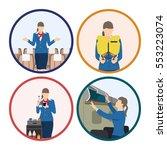 stewardess serves passengers on ... | Shutterstock .eps vector #553223074