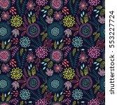 seamless floral pattern on dark ... | Shutterstock .eps vector #553227724