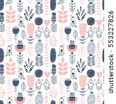 seamless vector romantic floral ...   Shutterstock .eps vector #553227826