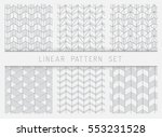 collection of linear black and... | Shutterstock .eps vector #553231528