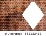 hole in a old brick wall... | Shutterstock . vector #553233493