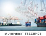 container cargo ship and cargo... | Shutterstock . vector #553235476