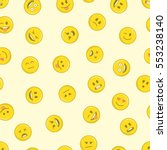 emoticons seamless pattern.... | Shutterstock .eps vector #553238140