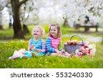 little children eating lunch... | Shutterstock . vector #553240330